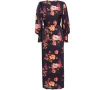 Zoe Velvet-trimmed Floral-print Hammered-satin Midi Dress