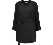 Clifton Belted Silk-jacquard Mini Dress Schwarz