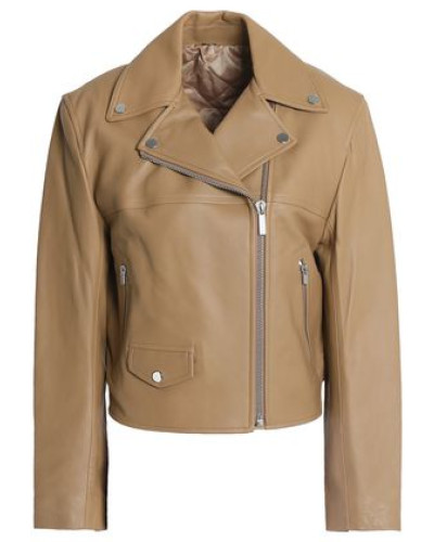 Tie-back Leather Biker Jacket Sand