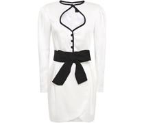 Belted Cutout Satin-crepe Mini Dress