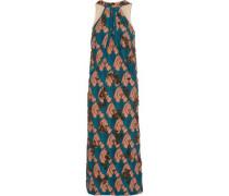 Crystal-embellished embroidered voile midi dress