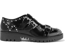 Ellis Buckled Studded Glossed-leather Brogues
