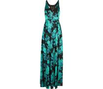 Embellished Tulle-paneled Floral-jacquard Gown Türkis