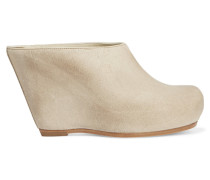 Brushed-leather Mules Wollweiß