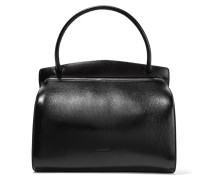 Glossed Textured-leather Shoulder Bag Schwarz