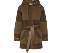 The Battlefield Leather-trimmed Cotton-blend Canvas Hooded Coat Armeegrün