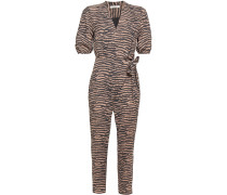 Wrap-effect Tiger-print Crepe Jumpsuit