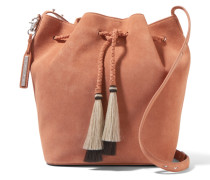 Tasseled Suede Bucket Bag Braun