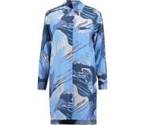 Kerry Printed Washed-silk Shirt Dress Blau