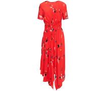 Asymmetric Gathe Printed Crepe Dress