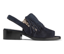 Alexa Fringed Suede Slingback Sandals Mitternachtsblau