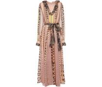 Delilah Ruffled Printed Metallic Silk-blend Voile Maxi Dress