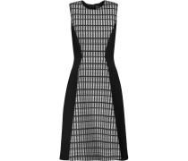Printed Wool Blend-paneled Crepe Dress Schwarz