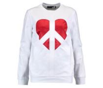 Embroidered satin-paneled cotton-jersey sweatshirt