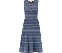 Wrap-effect Smocked Cotton Dress Blau