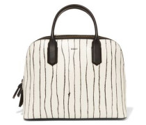 Twine printed leather tote