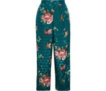 Jeanette Cropped Floral-print Jacquard Wide-leg Pants