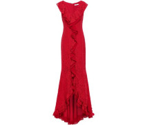 Ruffled Georgette-trimmed Corded Lace Gown Red Size 0