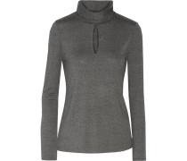 Cutout Stretch-jersey Turtleneck Top Grau