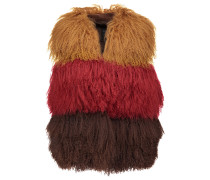 Color-block Shearling And Suede Vest Rot