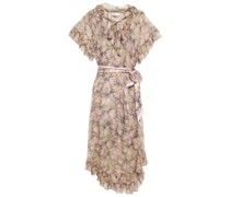 Sabotage Frilled Tie-neck Floral-print Silk-georgette Midi Dress