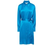 Zello Belted Satin Shirt Dress