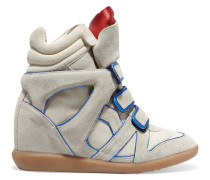 Wila Metallic Leather-trimmed Suede Wedge Sneakers Beige