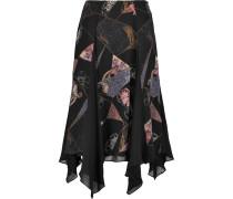 Reza Asymmetric Printed Silk-chiffon Skirt Schwarz