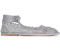 Lace-up Metallic Crochet-knit Ballet Flats Silver