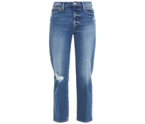 Cropped Faded Mid-rise Straight-leg Jeans