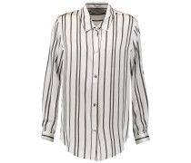 Striped Silk-satin Shirt Weiß