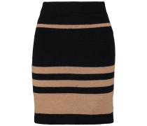 Striped Merino Wool-blend Mini Skirt Schwarz