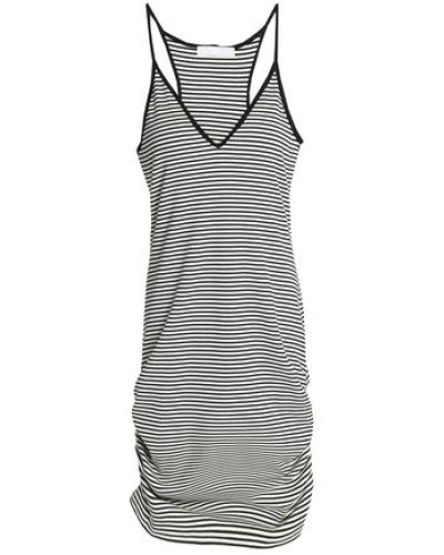 Rica Ruched Printed Stretch-jersey Dress Off-white