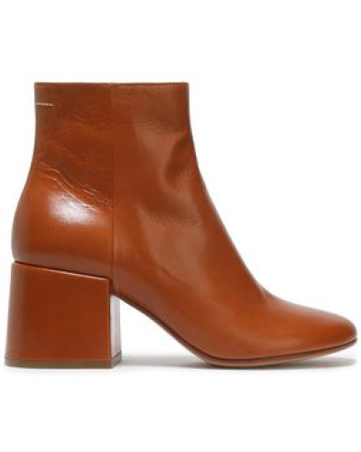 Woman Ring-embellished Glossed-leather Ankle Boots Light Brown