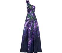 One-shoulder Appliquéd Floral-print Duchesse-satin Gown