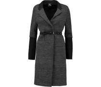 Twill-paneled Slub-jersey Coat Grau