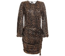 Belted Ruched Metallic Leopard-print Crepon Mini Dress