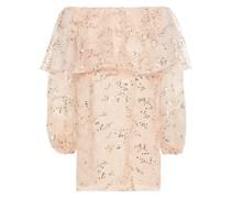 Schulterfreies Minikleid aus Tüll mit Stickereien und Verzierung