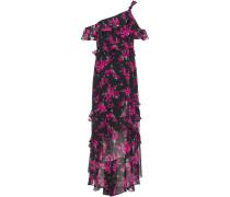 Off-the-shoulder Floral-print Chiffon Midi Dress