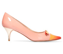 Chelsea Bow-embellished Patent-leather Pumps Puder