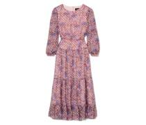 Isabel Embroidered Silk-georgette Midi Dress