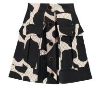 Quilted Printed Silk-blend Mini Skirt Schwarz