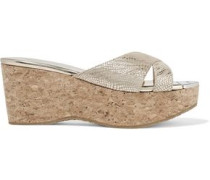 Prima 70 metallic snake-effect suede and cork wedge sandals