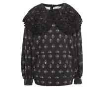 Sweatshirt aus Baumwollfrottee mit Lochstickerei und Floralem Print