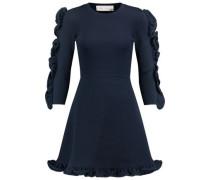 Ruffle-trimmed ribbed-knit mini dress