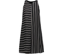 Elia Striped Satin-twill Mini Dress Schwarz