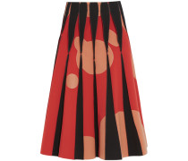Appliquéd Stretch-crepe Midi Skirt Rot