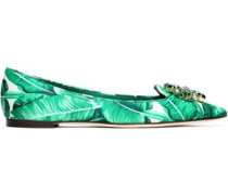 Bellucci crystal-embellished printed satin point-toe flats