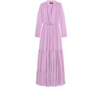 Alexia Swiss-dot Chiffon Maxi Dress Flieder