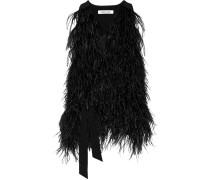 Xiomara Feather-embellished Crepe Vest Schwarz